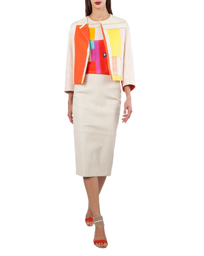 Mural-Print Open-Front Short Cotton-Silk Jacket and Matching Items