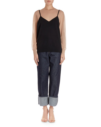 Jen Illusion Cami Top w/Sheer Sleeves and Matching Items
