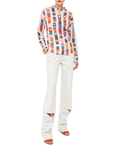 Long-Sleeve Striped Cotton Tunic Blouse and Matching Items