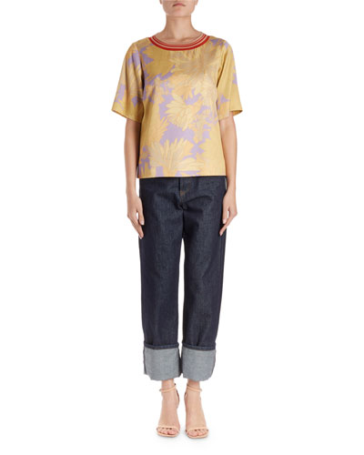 Corallo Short-Sleeve Floral Blouse w/ Striped Knit Collar  and Matching Items