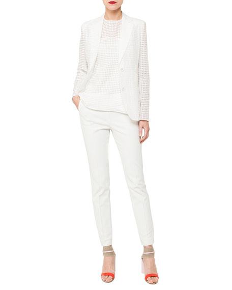Cotton-Silk Square-Ajoure Single-Breasted Blazer
