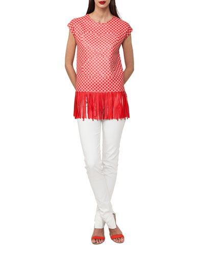 Cap-Sleeve Lamb Napa Leather Top with Fringe Bottom and Matching Items