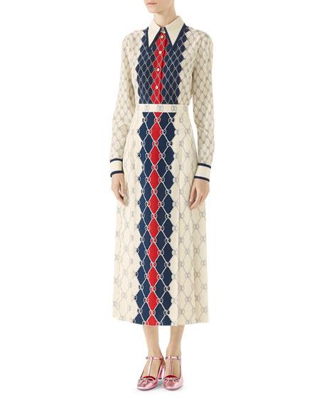 Long-Sleeve Gucci Rhombus-Print Shirt