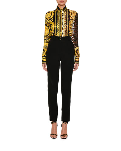 Baroque Leopard-Print Button-Front Silk Twill Blouse and Matching Items