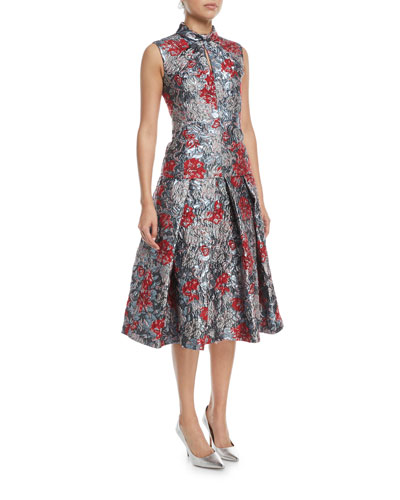 Ina Metallic Floral-Jacquard Midi Cocktail Skirt with Tucks and Matching Items