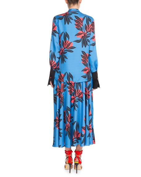 Floral-Print Button-Front Silk Blouse