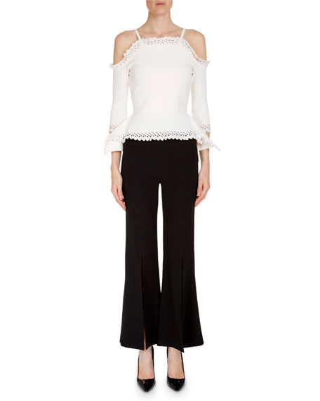 Asenby Cold-Shoulder Long-Sleeve Fitted Knit Top with Lace Trim