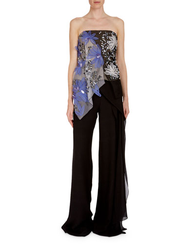 Hempton Floral-Embroidered Sequined Bustier Top and Matching Items