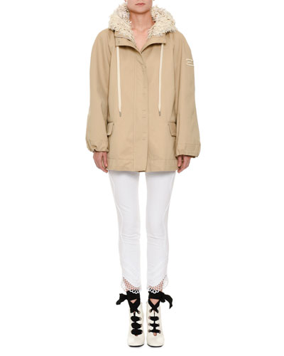 Zip-Front Cotton Taffeta Hooded Parka Jacket Floral-Embroidery Trim and Matching Items
