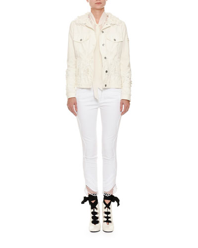 Button-Front Floral-Eyelet Denim Jacket and Matching Items