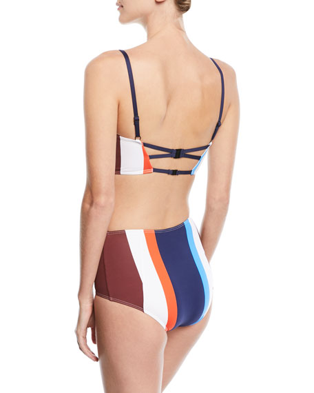 Ava Structured Striped Bustier Swim Top