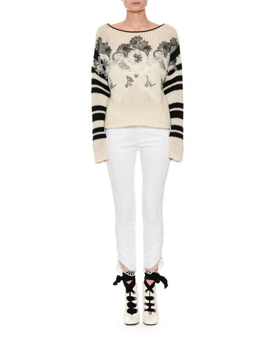 Long-Sleeve Floral-Embroidered Sweater with Lace Trim and Matching Items
