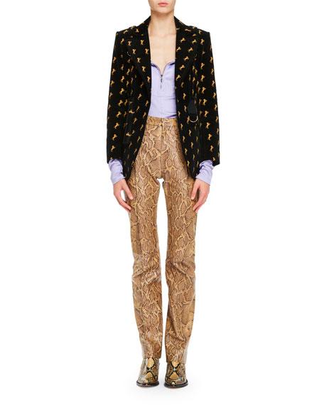 Horse-Embroidery Belted Velvet Riding Jacket