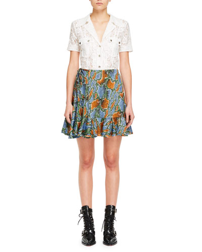 Collared Snap-Front Short-Sleeve Floral-Lace Shirt and Matching Items