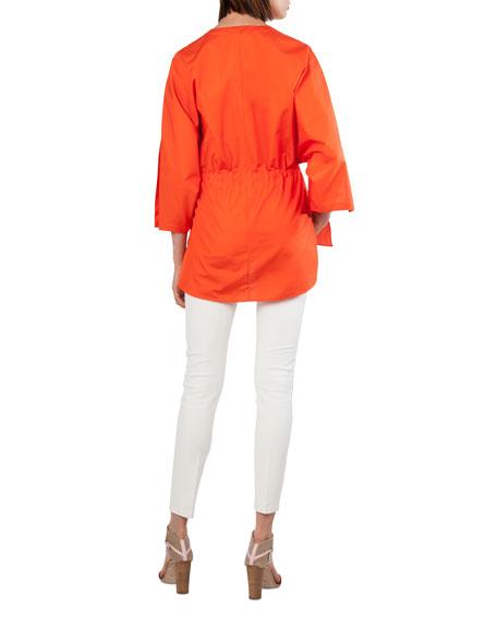 Button-Front Kimono-Sleeve Cotton Poplin Blouse
