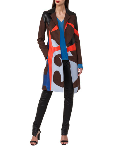 Patchwork Linen & Leather Coat Trench Coat and Matching Items