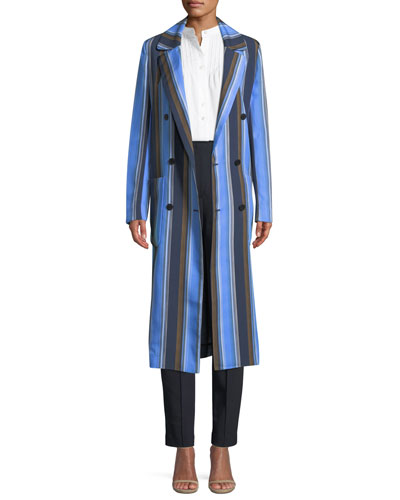 Double-Breasted Striped Silk Long Jacket and Matching Items