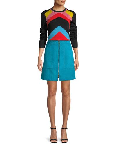 Rainbow Chevron-Stripe Crewneck Sweater and Matching Items