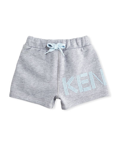 Cotton Drawstring Shorts w/ Logo Detail, Gray, Size 12-18 Months  and Matching Items