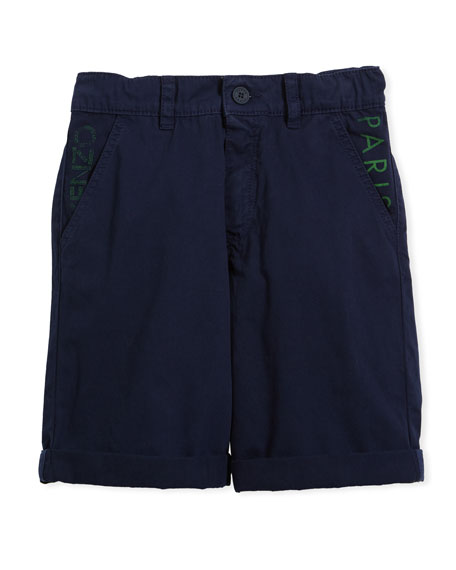 Chino Shorts w/ Logo Pockets, Navy, Size 4-6