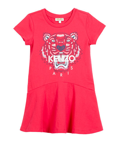 Short-Sleeve Tiger Logo Dress, Size 4-6  and Matching Items