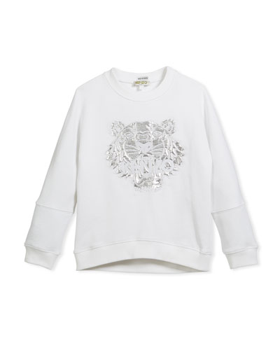 Drop-Shoulder Sweatshirt w/ Metallic Tiger Face, White, Size 4-6  and Matching Items