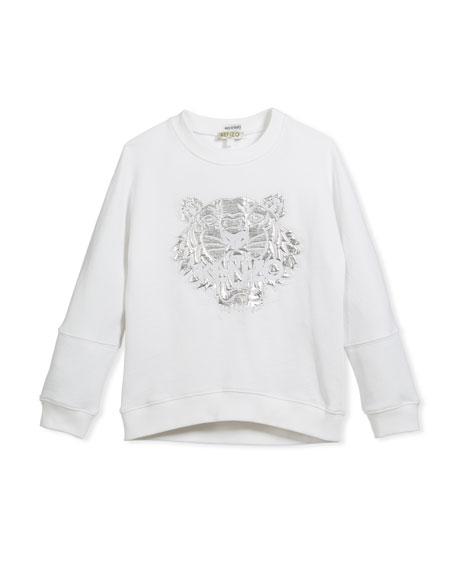 Drop-Shoulder Sweatshirt w/ Metallic Tiger Face, White, Size 4-6