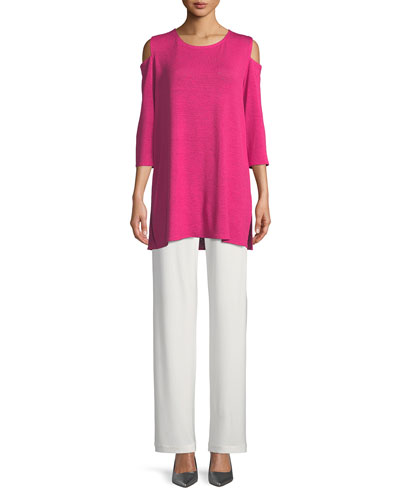 Gauze Knit Cold-Shoulder Tunic  and Matching Items, Petite