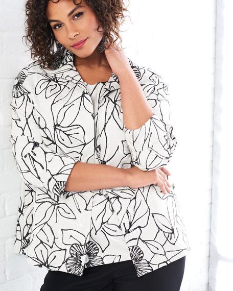 Frivolous Floral A-line Topper Jacket, Plus Size