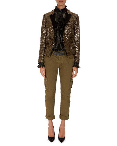 Spencer Golden-Paillette Double-Breasted Jacket