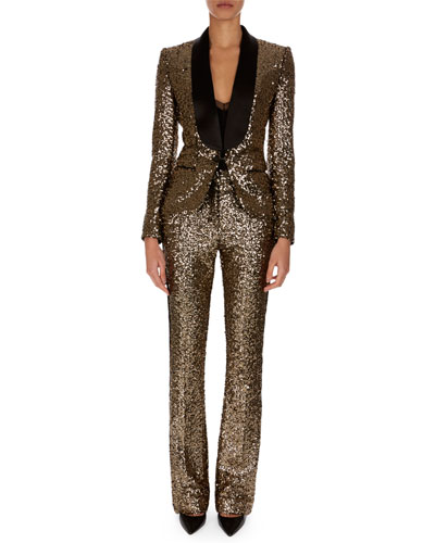 Shawl-Collar One-Button Golden Paillettes Blazer and Matching Items