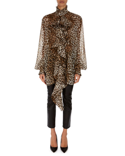 Long-Sleeve Leopard-Print Ruffled Crepon Tunic and Matching Items