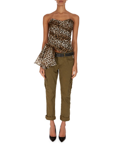 Strapless Asymmetric Leopard-Print Blouse and Matching Items