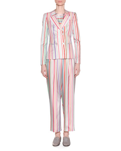 Multicolor Striped Pleated Wide-Leg Trousers and Matching Items