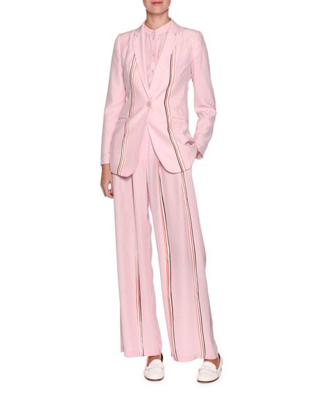 Single-Breasted Sport-Stripe Silk Blazer
