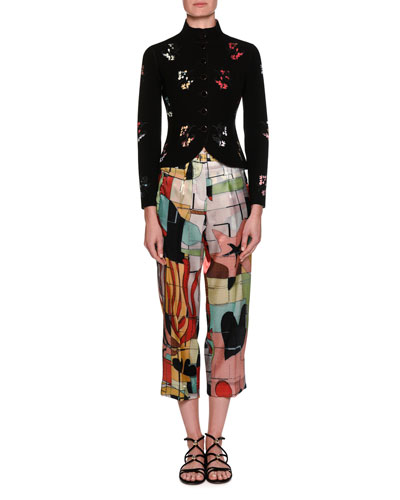 Neoprene Button-Front Jacket with Laser-Cut Floral Details and Matching Items