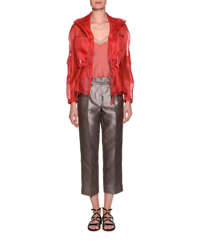 Silk Shantung Wide-Leg Cropped Pants and Matching Items