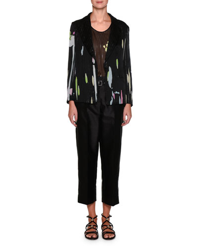 Single-Button Floral-Print Silk Jacket with Pinstripes and Matching Items