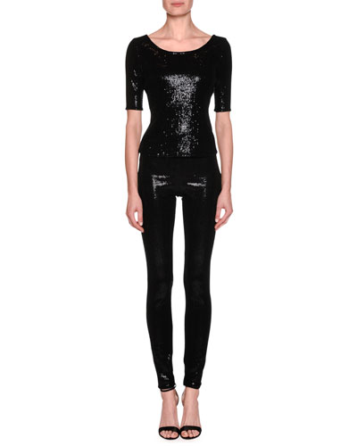 Stretch Paillette High-Waist Leggings and Matching Items