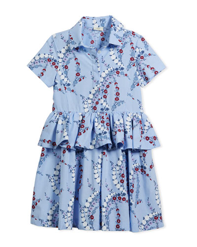 Floral-Print Collared Dress, Size 3-5  and Matching Items