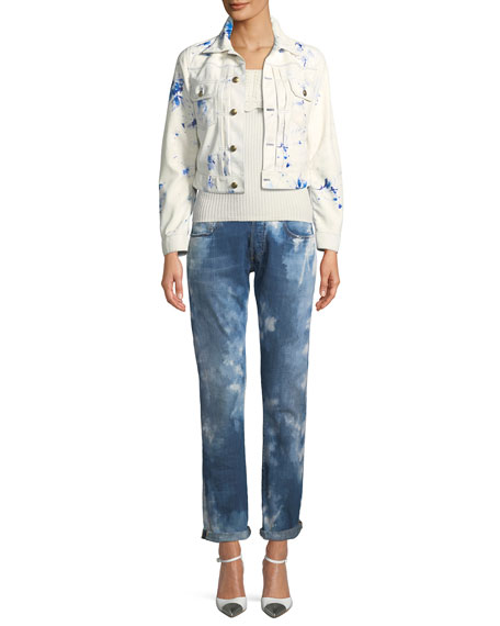Sherwin Button-Down Abstract-Print Cropped Leather Jacket