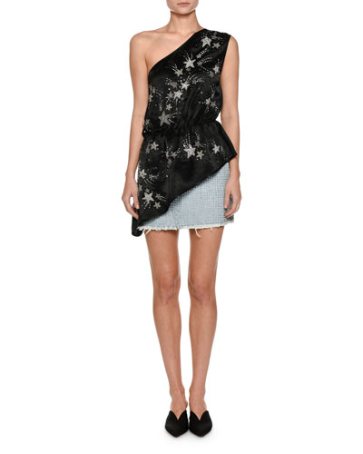 One-Shoulder Crepe De Chine Top with Embroidered Stars and Matching Items
