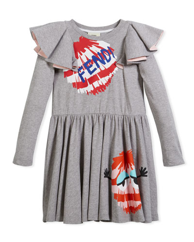 Long-Sleeve Ruffle Jersey Dress w/ Monster Pompom Graphic, Size 3-5  and Matching Items