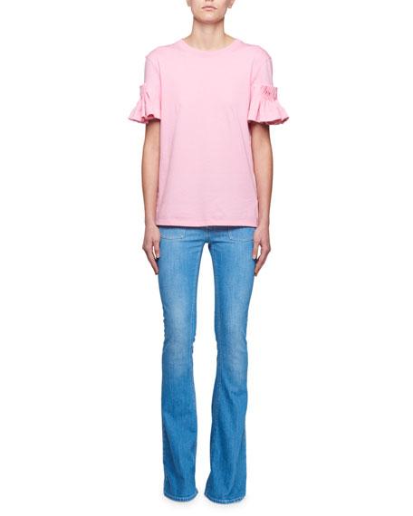 Crewneck Ruffle Wide-Cuff Cotton T-Shirt
