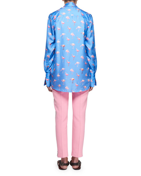 Flamingo-Print Button-Front Long-Sleeve Silk Shirt