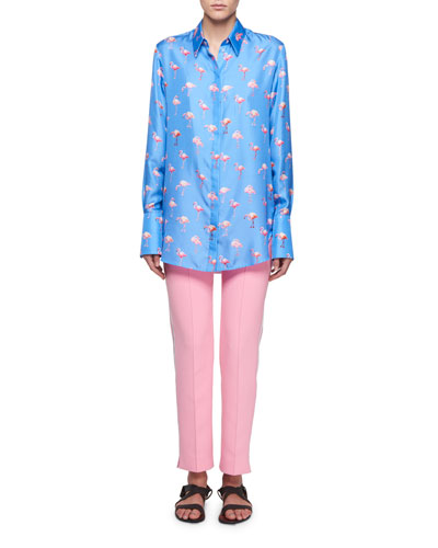 Flamingo-Print Button-Front Long-Sleeve Silk Shirt and Matching Items