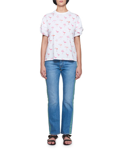 Flamingo-Print Crewneck Short-Sleeve Cotton T-Shirt and Matching Items