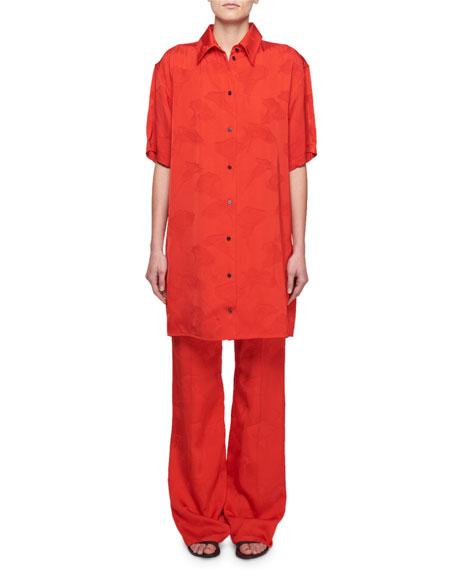 Short-Sleeve Button-Front Floral-Jacquard Shirt