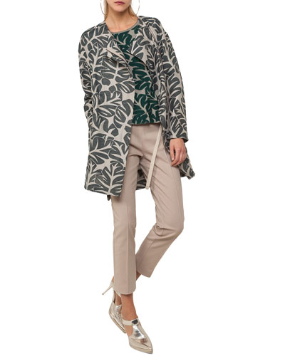 Tropical-Leaf Jacquard Hidden Zip Coat and Matching Items