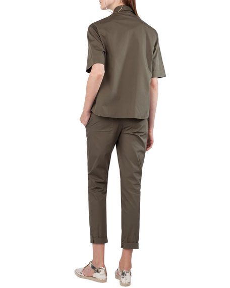 Elbow-Sleeve Button-Front Oversized Cotton Top